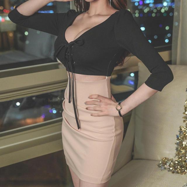 レディース ワンピース ドレス キャバクラ タイトスカート S ミニ丈 セクシー レディースのフォーマル/ドレス(ミニドレス)の商品写真
