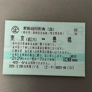 【6月7日使用期限】新幹線 回数券 東京 豊橋 自由席 1枚(鉄道乗車券)