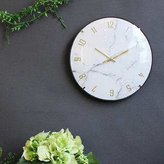 【新品・送料無料】大理石調文字盤 クオーツ壁掛け時計 静かな連続秒針(掛時計/柱時計)