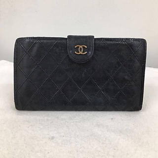 シャネル(CHANEL)の正規品 CHANEL シャネル がま口 長財布 ブラック色 送料込み(財布)