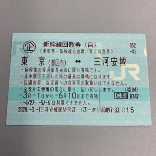 新幹線 東京 三河安城 1枚(鉄道乗車券)