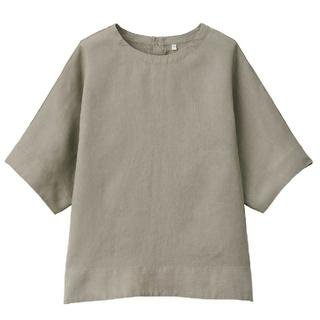 MUJI (無印良品) - フレンチリネン洗いざらし 半袖ブラウス