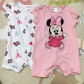 H&M - H&M 半袖ロンパース サイズ60 ミニーちゃん、2枚セット 新生児