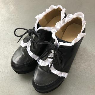 WEGO - 処分予定商品 フリル付き 厚底シューズ 厚底靴 黒 ブラック 量産型