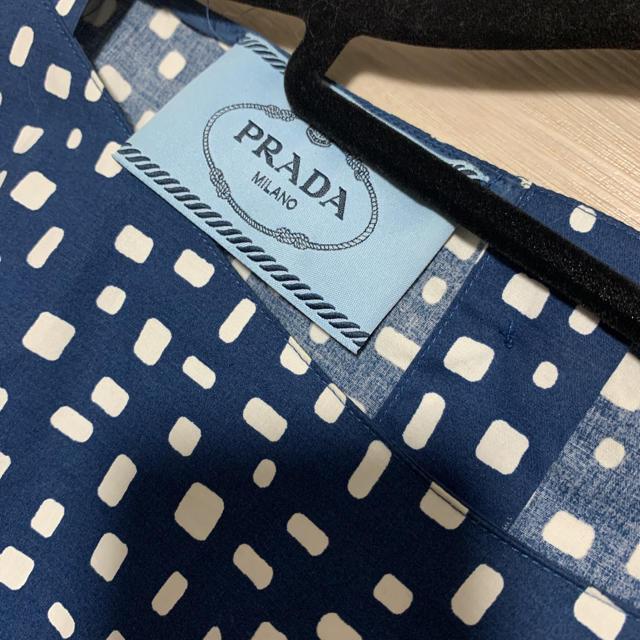 PRADA(プラダ)のプラダ ミモレ丈 フレア ワンピース 38 コットン ブルー レディースのワンピース(ひざ丈ワンピース)の商品写真
