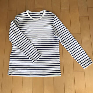 ユニクロ(UNIQLO)のユニクロ メンズ長袖Tシャツ ボーダー 白×ネイビー(Tシャツ/カットソー(七分/長袖))
