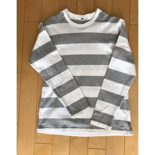 ユニクロ(UNIQLO)のユニクロ メンズ長袖Tシャツ ボーダー 白×グレー(Tシャツ/カットソー(七分/長袖))
