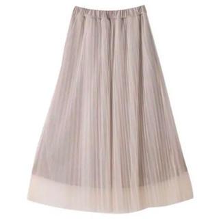 シマムラ(しまむら)のプチプラのあや×ハミングローブ しまむら サテンチュールスカート ベージュ(ロングスカート)