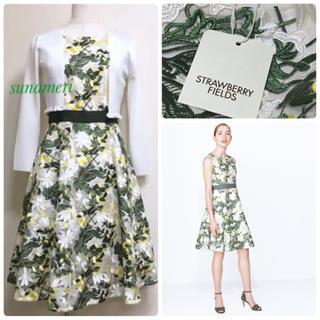 STRAWBERRY-FIELDS - 新品タグ付き カタログ掲載 幻のパルテール フラワー 刺繍 ワンピース