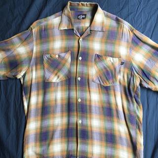 STUSSY - 90s OLD STUSSY オンブレチェック 半袖シャツ 実寸Lサイズ