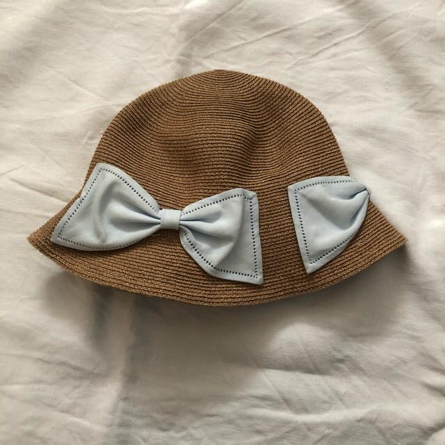 Bonpoint(ボンポワン)の美品 Athena アシーナニューヨーク キッズ 麦わら帽子 リボン Mサイズ キッズ/ベビー/マタニティのこども用ファッション小物(帽子)の商品写真