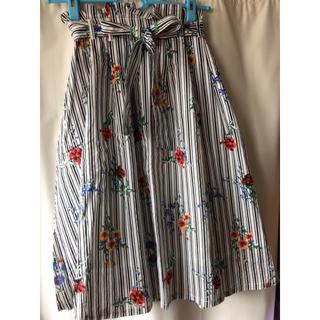 シマムラ(しまむら)のストライプ&花柄スカート(ひざ丈スカート)