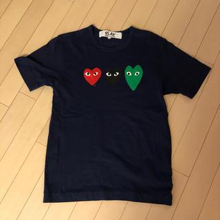 コムデギャルソン(COMME des GARCONS)のコムデギャルソン プレイ  ネイビー トリプルハート 赤 黒 緑 サイズS(Tシャツ/カットソー(半袖/袖なし))