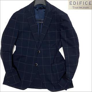 エディフィス(EDIFICE)のJ5175 美品 エディフィス ウインドーペーン サマーアンコンジャケット紺46(テーラードジャケット)