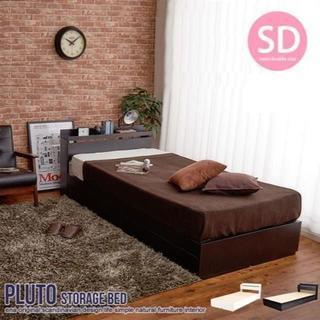 【セミダブル】たっぷり収納付きベッド Pluto☆ブラック&ホワイト(セミダブルベッド)