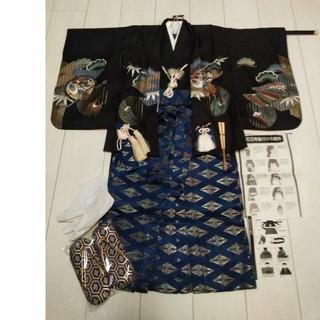 ②七五三5歳男の子羽織袴フルセット(和服/着物)