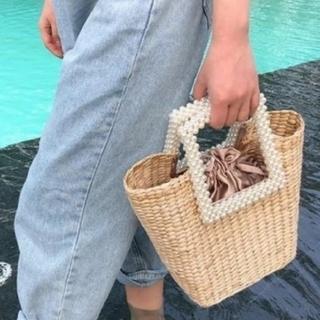 ザラ(ZARA)のパール かごバッグ 巾着付き チェーンショルダー(かごバッグ/ストローバッグ)