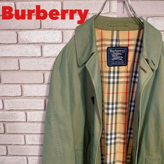 バーバリー(BURBERRY)の《極上品》バーバリー Burberry トレンチコート ノバチェック グリーン(ステンカラーコート)