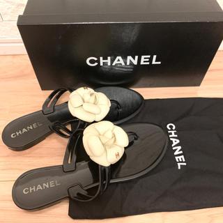 CHANEL - シャネル 正規店購入品 カメリアビーチサンダル サイズ37