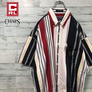 Ralph Lauren - チャップス ラルフローレン☆マルチストライプ 刺繍ロゴ 半袖 BDシャツ 90s