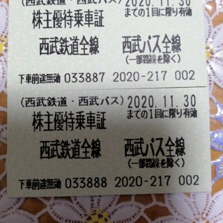 ☆西武鉄道・バス 株主優待乗車証2枚セット 20.11.30まで有効(鉄道乗車券)