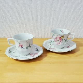 ミカサ(MIKASA)のmikasa ミカサ 食器 洋食器 ペアカップ&ソーサー 花柄(グラス/カップ)