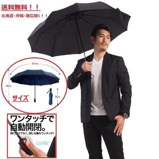 ワンタッチ開閉式大きな折り畳み傘(117㎝) ブラック色(傘)