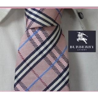 BURBERRY - 美品★バーバリーロンドン【ピンクチェック柄】ハンドメイド高級ネクタイ★