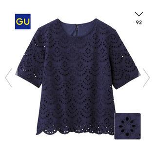 ジーユー(GU)の美品♡ GU Tブラウス(レース 半袖)(カットソー(半袖/袖なし))