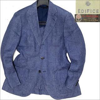 エディフィス(EDIFICE)のJ5183 美品 エディフィス 麻千鳥格子 サマーアンコンジャケット 紺 46(テーラードジャケット)