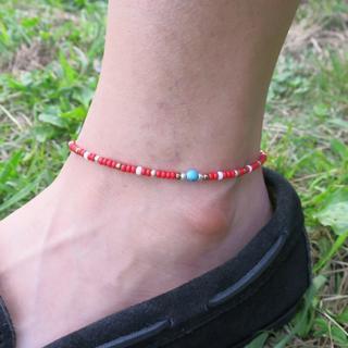 赤 ネイティブカラー アンクレット 約20cm+5cm メンズ レディース(アンクレット)