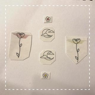 タトゥーシール  花と月 韓国風 オリジナル(その他)