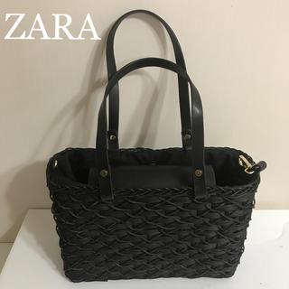 ザラ(ZARA)の新品タグ付 ZARA  かごバック ブラック(かごバッグ/ストローバッグ)