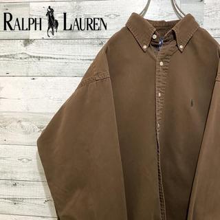 Ralph Lauren - 【超人気】ラルフローレン☆刺繍ワンポイントロゴ ブラウン コットン長袖BDシャツ