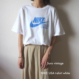NIKE - NIKE ビッグロゴ tシャツ 白 水色 古着 古着女子 vintage