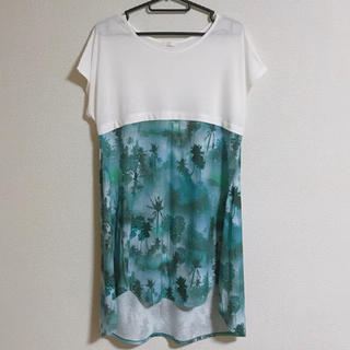 GU - GU  薄手ロングTシャツ  Aライン  ブルーグリーン  Lサイズ