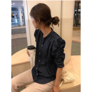 moussy - MOUSSY GATHER SLEEVE DENIMブラウス パフスリーブ