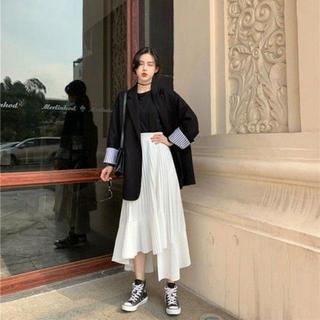 アシンメトリー 細プリーツ スカート アンバランスヘム【ホワイト/フリー】(その他)