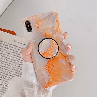【オレンジ】大理石柄 iPhoneケース(iPhoneケース)