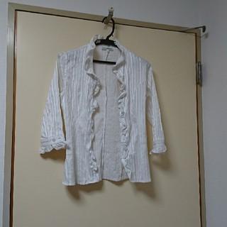 ナラカミーチェ(NARACAMICIE)のSサイズ ホワイト 7分袖 縦ボーダー襟フリルラウス(シャツ/ブラウス(長袖/七分))