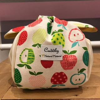 りんご柄 きゅっとぷち袋 お弁当袋 ハンドメイド(キッチン小物)