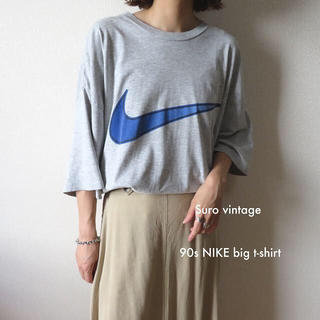 NIKE - 90s NIKE ビッグロゴ スウォッシュ tシャツ グレー 古着女子