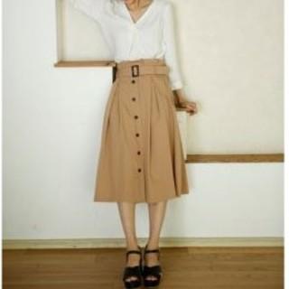 INGNI - 新品 INGNI 前ボタン タックミディスカート ベージュ サイズM