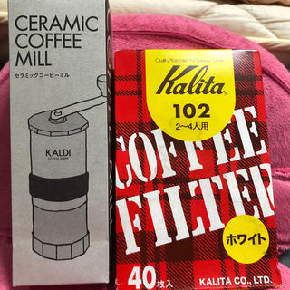 カルディ(KALDI)の新品コーヒー セラミックミル カリタコーヒーフィルター40枚付き(コーヒーメーカー)