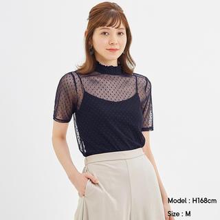 ジーユー(GU)の新品 チュールドットレースT ブラック(カットソー(半袖/袖なし))