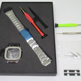 DW5600E/GWM5610 用フルメタルベゼルベルトセット シルバー(金属ベルト)