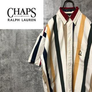 Ralph Lauren - 【激レア】チャップスラルフローレン☆刺繍ロゴ入り半袖カラーマルチストライプシャツ