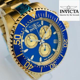 インビクタ(INVICTA)の【新品】インビクタ グランドダイバー 腕時計 ゴールド ブルー クォーツ メンズ(腕時計(アナログ))