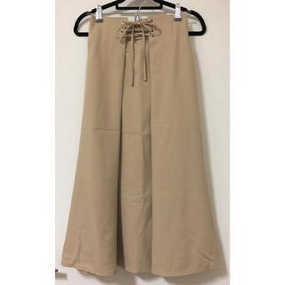 シマムラ(しまむら)のしまむら ウエストレースアップ スカート  ベージュ 新品タグ付き(ロングスカート)
