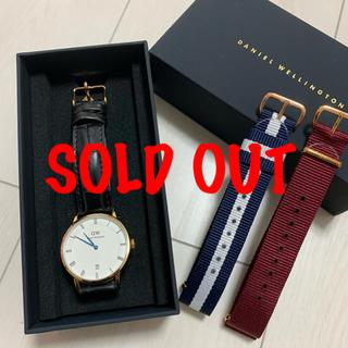 ダニエルウェリントン(Daniel Wellington)の【完売しました】ダニエルウェリントン腕時計 黒革ベルト 新品ベルト2本付き(腕時計)